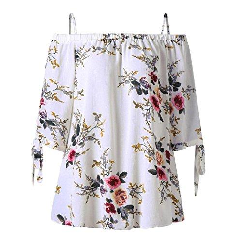 Overdose Mode Damen Sommer Schulterfrei Oberteile T Shirt Plus Size Blumendruck Bluse Casual Tops Camis (EU-42/CN-XL, Weiß)
