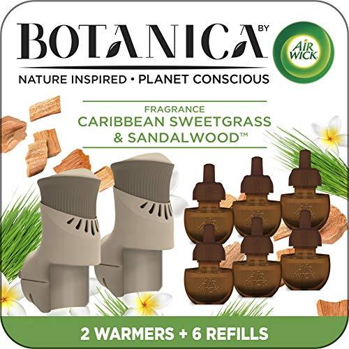Air Wick Botanica Plug in Scented Oil Starter Kit, 2 Warmers + 6 Refills, Caribbean Sweetgrass and Sandalwood, Air Freshener, Eco Friendly, Essential Oils