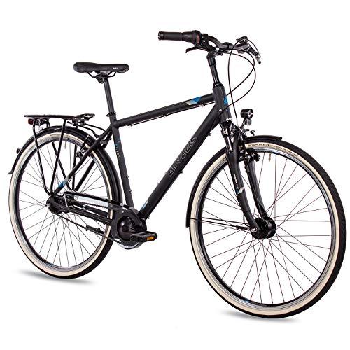 Airtracks City fiets voor heren, 28 inch Cityfiets CI.2820 Shimano Nexus 7 versnellingen naafschakeling - naafdynamo - terugtraprem - zwart mat - framehoogte 52 cm en 56 cm - model 2020