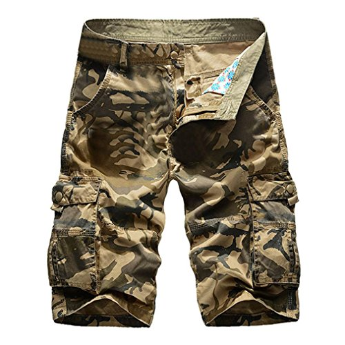 vermers Clearance Sale Men's Casual Cargo Shorts Camouflage Outdoors Pocket Beach Work Trousers Short Pants(36, Khaki)