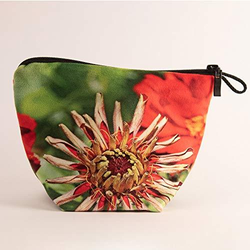 Sandrine Marbach Leere Tasche + Reißverschluss Kollektion Blumen – Zinnia rot grüner Hintergrund