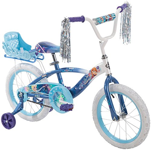 "16"" Huffy Kids Bicycle Disney Blue Frozen Graphics Swirly Snowflakes Bike for Girls with Training Wheels and Sleigh Doll Carrier"
