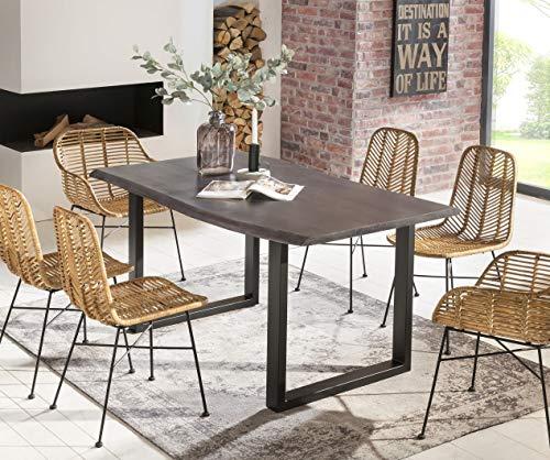 SalesFever Esszimmer-Tisch 140x80 cm | Akazie | echte Baumkante | grau-farbig | schwarzes U-Gestell aus Metall | Massiv-Holz