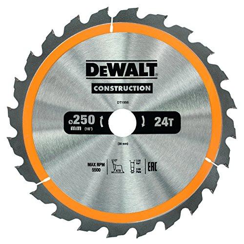 DeWalt Bau-Kreissägeblatt für Stationärsägen/Kreissägenblatt (250/30 mm 24WZ, für schnelle Schnitte) DT1956