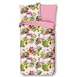 Aminata Kids Bettwäsche 135 x 200 Flamingo-Motiv Baumwolle rosa mit Reißverschluss, Blumen, Tropical mit Vogel-Motiv - Wende-Bettwäsche-Set weich & kuschelig
