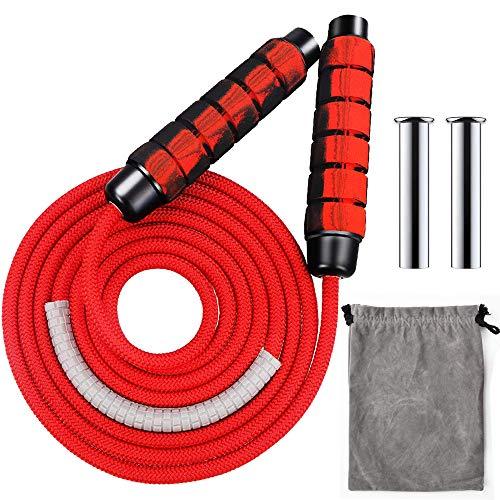 Comba para fitness, comba con pesos en la cuerda de saltar, longitud ajustable para cardio, entrenamiento de resistencia, entrenamiento de fitness, entrenamiento intensivo de entrenamiento, color rojo