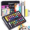 Watercolor Paint Set with Water Blending Brush, 48 Colors Artist Drawing Platte Gift Travel Case Portable Painting , Non Toxic & Vibrant Colors, for Students, Kids, Beginners Arts DIY Craft Projects