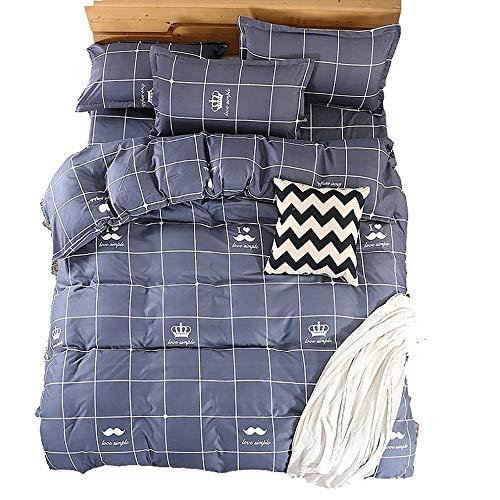 JGYJ Dreiteiliges Bettwäscheset Aloe Vera Baumwoll-bettbezug Cartoon Crown Full Size Bettbezug Kissenbezug 135x150cm grau