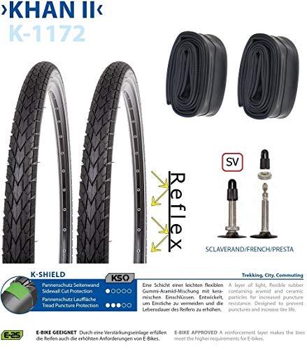 P4B | Komplettes 28 Zoll Fahrradreifen Set = 2x 42-622 ( 28 x 1.60) Fahrrad Reifen mit Pannenschutz + Reflexstreifen | 2X 28 Zoll Schläuche | SV 40mm | FORMGEHEIZT