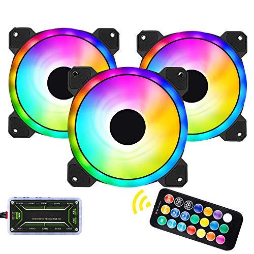 Andifany Paquete de 3 Ventiladores de Caja RGB, Enfriamiento de Chasis RGB Ultra Silenciosos de 120Mm, Equipados con Concentrador de Control Remoto, para Ventilador de Caja de Computadora