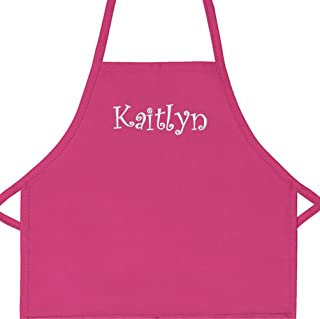 Personalized Apron Embroidered Add a Name Kids Apron (Hot Pink, Regular 15