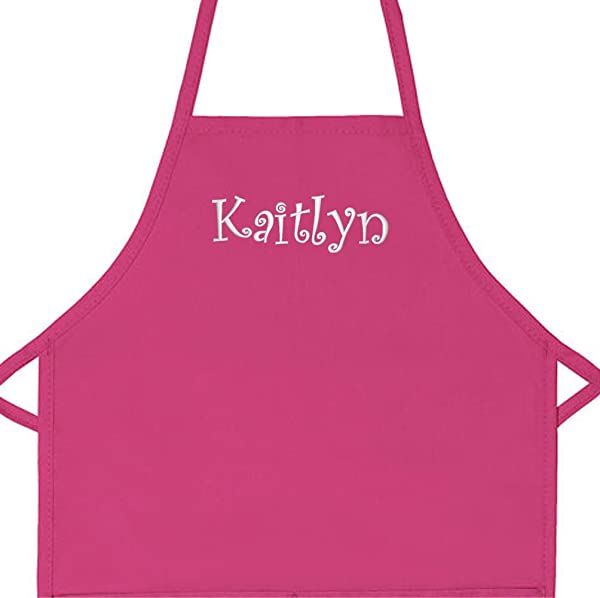 Personalized Apron Embroidered Add A Name Kids Apron Hot Pink Regular 15 X 20 For Kids Up To Age 6 Or 7
