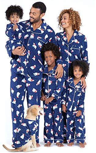 PajamaGram Family Matching Christmas Pajamas - Ultra Soft Fleece, Navy, Kids, 8