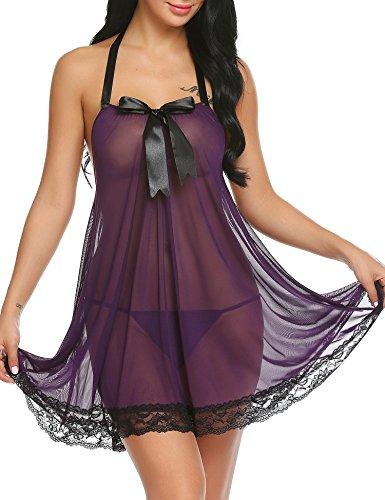 Avidlove Damen Negligee Nachtwäsche Nachtkleid Dessous Set Spitze Nachthemd Reizwäsche Lingerie Sleepwear Kleid mit String EU L,  B Lila