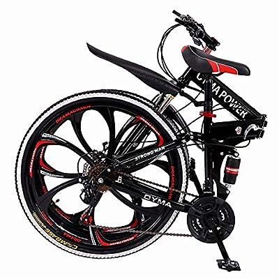 ?US Stock? Folding Mountain Bike for Men & Women - 26'' Wheel 21 Speed Full Mountain Bike for Adults & Teens   Cheap Lightweight Foldable City Commuter Bike Road Bike Outroad Bike - Red
