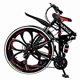 【US Stock】 Folding Mountain Bike for Men & Women - 26'' Wheel 21 Speed Full Mountain Bike for Adults & Teens | Cheap Lightweight Foldable City Commuter Bike Road Bike Outroad Bike - Red