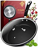Frying Pan with Lid - 10 Inch Frying Pans Nonstick Skillet Pan Nonstick Frying Pan Skillets Nonstick with Lids Non Stick Pan Cooking Pan Fry Pan Nonstick Pan with Lid Skillet with Lid Non Sticking Pan