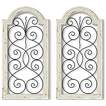 Barnyard Designs Rustic Wood and Metal Wall Decor Large Decorative Wrought Iron Scroll Wall Art Vintage Farmhouse Home Decor 16  x 32   Set of 2