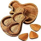 Caja de Portapúas Coleccionista de Madera con 3 Piezas Púas de Guitarra de Madera Púas de Guitarra de Triángulos Clásicos para Accesorio de Instrumento de Música de Bajo Eléctrico
