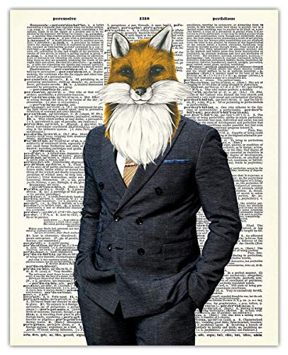 Whimsical Fox In A Suit Dictionary Wall Art Print - (8x10) Unframed Picture For Home, Office, Dorm & Bedroom Decor - Great Gift Idea Under $15