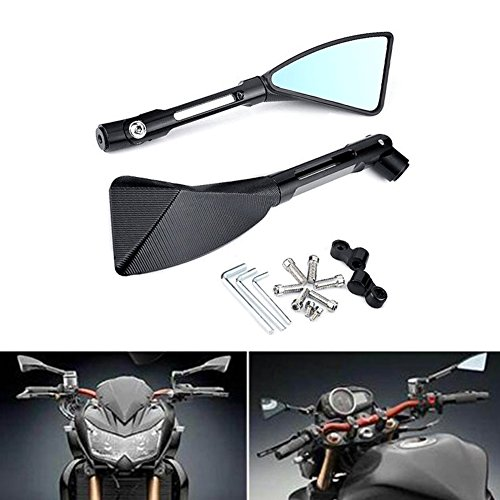"KATUR Motocicleta Espejo retrovisor Triángulo Negro Cuchilla Estilo Demonio Moto 7/8""Soporte de Manillar CNC Billet Aluminio para Yamaha MT-01 MT-03 WR TDM TDR TW Fazer XJR TDM XJ XTZ V MAX WR FZ1"