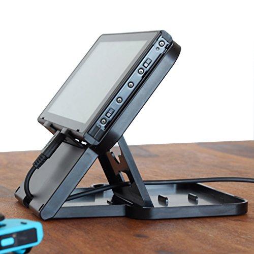 smaart® Nintendo Switch Stand | Playstand mit 4 Winkeln, Luftschlitzen und Öffnungen für USB-C Ladekabel | die ideale Docking Station für gleichzeitiges Gamen und Aufladen deines Switch