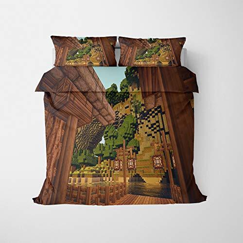 NICHIYO Minecraft Military Duvet Cover Bedding Set - Duvet Cover and Pillow Case, Microfibre, 3D Digital Print Three-Piece Bedding (Duvet Cover + Pillowcases) (02, SuperKing 220 x 260 cm)