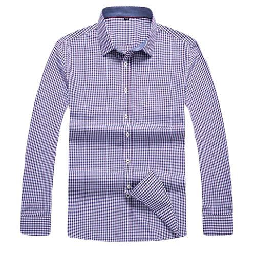 ZJEXJJ Herrenhemden Business Plaid Tops Langarm T-Shirt Loses großes Poloshirt für Männer Arbeitskleidung (Farbe : Lila, größe : XXXL)