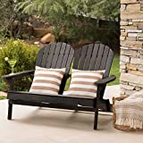 Christopher Knight Home Malibu Outdoor Acacia Wood Adirondack Loveseat, Dark Grey