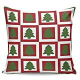 Winter Rangers Fundas de almohada decorativas, diseño de árbol de Navidad verde rectangular con fondo rojo ultra suave, funda de cojín cuadrada cómoda para sofá dormitorio, 66 x 66 cm