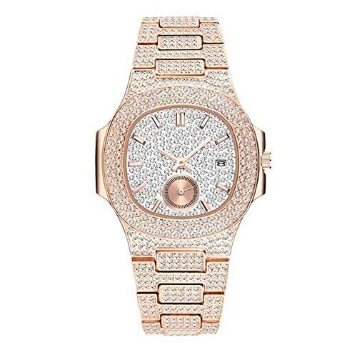 Orologio da uomo con cinturino, orologio da cristallo unisex Orologio da polso con bling Orologio da polso oblungo Orologio analogico al quarzo con diamanti di moda con quadrante cronografo simulato