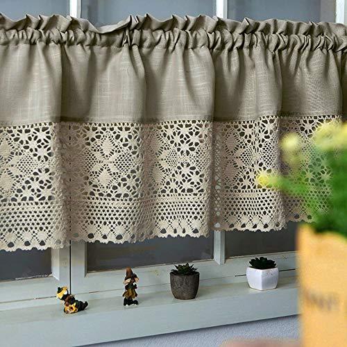 choicehot Visillo de estilo rústico, de algodón, con diseño de cenefa, elegante, lino, semitransparente, beige oscuro, para salón, altura x ancho: 80 x 130 cm, 1 unidad