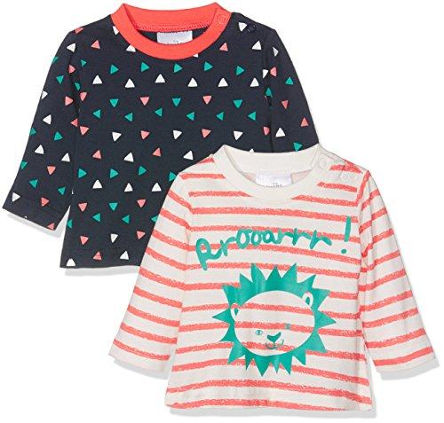 Julius Hüpeden GmbH Twins Baby-Mädchen Langarmshirt 2er Pack, Mehrfarbig (Blau/Weiss,Orange), 62