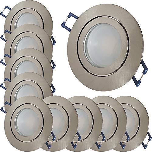 LED Bad Einbaustrahler 230V inkl. 10 x 9W SMD LM Farbe Eisen geb. IP44 LED Einbauleuchten Neptun Rund 3000K Deckenspots