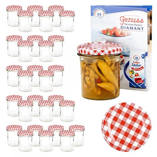 Van Well 30er Set Einkochgläser 350 ml Sturzglas Deckel Rot-Weiß Kariert Incl. Rezeptheft | Einmachgläser für Obst & Marmelade | Einweckgläser Gläser