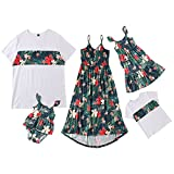 Family Matching Outfits Floral Mommy and Me Dresses Baby Girl Flower Romper Daddy and Son Matching Shirts (White Boy, 4-5T)
