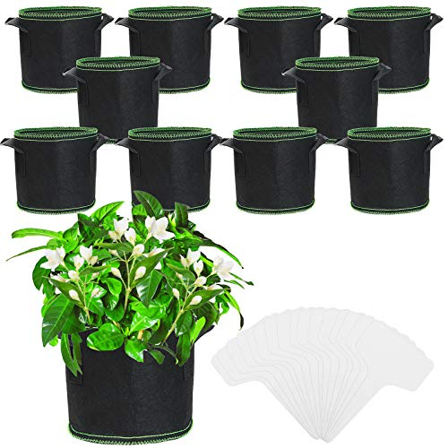 JatilEr - Confezione da 10 vasi in tessuto non tessuto traspirante per patate, con 25 etichette per piante, con manici per zucchine, pomodori, fiori, ortaggi, fioriera