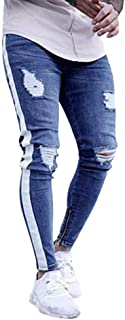 Ximandi Male Slim Bodybuilding Zipper Denim Jeans Comfortable Skinny Frayed Pants
