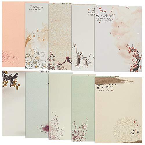 Briefpapier Motivpapier, 80 Stück Schreibpapier Set Vintage Briefe Schreibwaren Motivpapier Blumen altes Papier mit Motiv