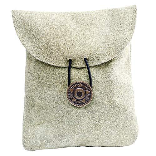 Mythrojan Medieval Renaissance Suede Jewelry Belt Pouch LARP Costume Waist Bag – Light Green