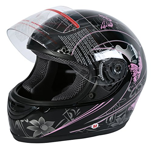 XFMT DOT Adult Motorcycle Flip Up Full Face Helmet Street Dirt Bike ATV Helmets (Black Pink Butterfly, Small)
