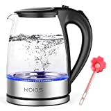 KOIOS Electric Kettle 1.8L Hot Water Boiler Teapot & Glass Tea Kettle with LED Cordless Fast Heating, Auto Shut-Off, Boil-Dry Protection, Stainless Steel Inner Lip, 1500W, BPA-Free, Fast Boiling