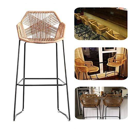Barstools Iron Art Kitchen Counter Stool Breakfast Bar Chairs Height Stool Rattan Wicker Bar Stool Chair for Kitchen Pub Café Breakfast Counter(Sitting Height: 65/75cm)