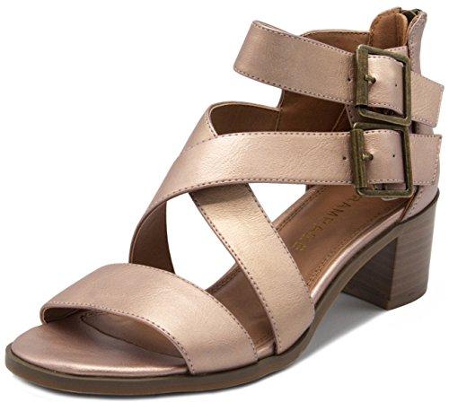 RAMPAGE Women's Havarti Sandal, Rose Gold/Metallic, 11 M US