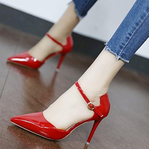 Xue Qiqi Court Schuhe Tipp bemalte bemalte bemalte Leder für die high-heel Schuhe stilvolle rot Hochzeit Schuhe mit flachen Mund einzelne Schuhe Frauen Schlitz  Großhandelsgeschäft