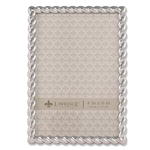Lawrence Frames 710046 Silver Metal Rope Picture Frame, 4 by 6-Inch