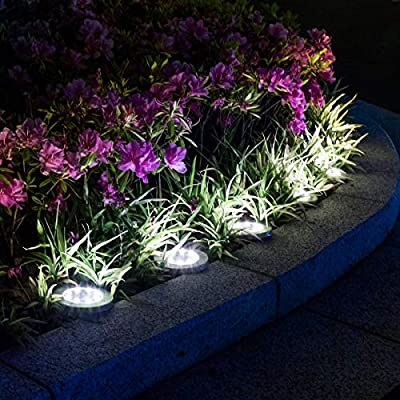 PAMAPIC Solar Ground Lights 8 Pack, 8 LED Solar Powered Disk Lights Outdoor Waterproof Garden Landscape Lighting for Yard Deck Lawn Patio Pathway Walkway (White)