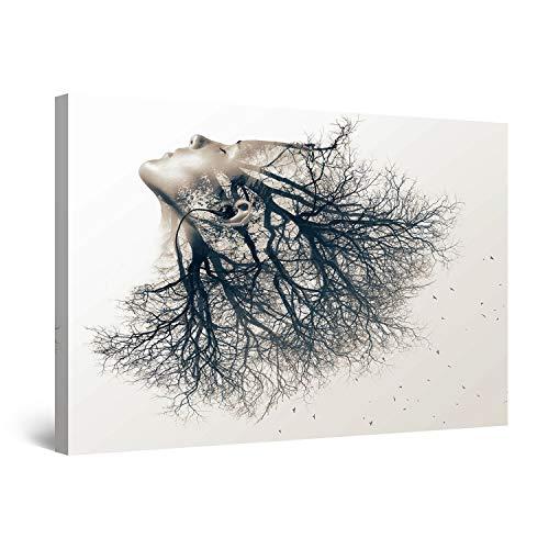 Startonight Cuadro Moderno en Lienzo - Chica Árbol Blanco y Negro - Pintura Abstracta para Salon Decoración Grande 80 x 120 cm