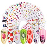40 Sheets Summer Series Nail Art Stickers Decals for Women Water Transfer Nail Decals Summer Fruit Ice Cream Lipstick Series Design Manicure Tips,Nail Tips DIY Toenails Nail Art Decorations Accessorie