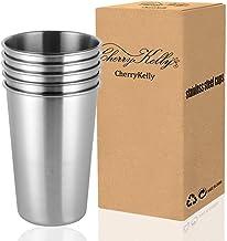 CherryKelly All ZEM - Juego de 5 Vasos de Cerveza de Acero Inoxidable Reutilizables, apilables, para Camping, Senderismo, al Aire Libre, sin BPA, 500 ml, Color Plateado